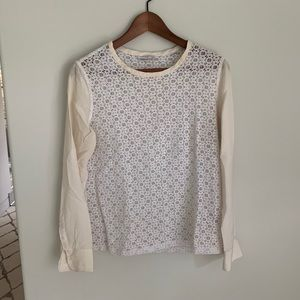 Cream white silk cotton eyelet long sleeve blouse